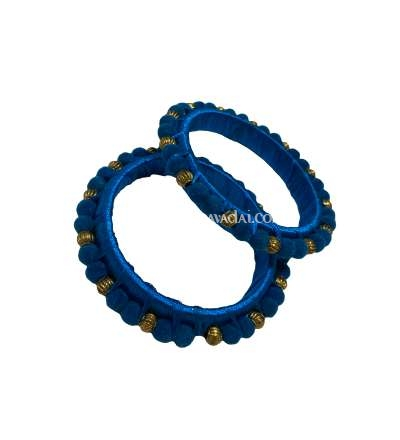 Silk Thread Pom Pom Bangle Peacock Blue