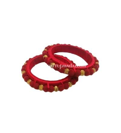 Silk Thread Pom Pom Bangle Red