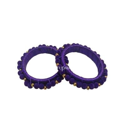 Silk Thread Pom Pom Bangle Violet