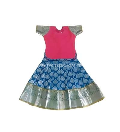 Silver Zari Silk Pavadai Peacock Blue and Pink