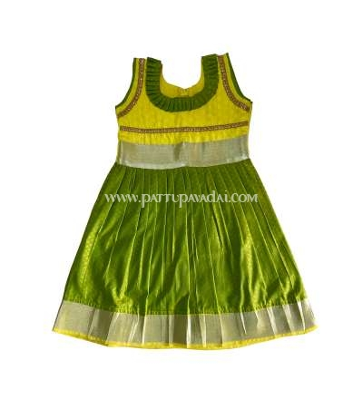 Soft Silk Long Gown Green and Yellow