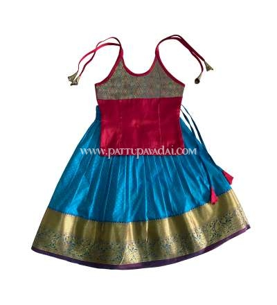 Soft Silk Pavadai Blue and Red