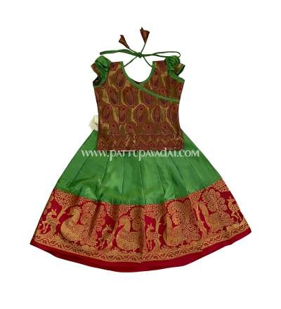 Soft Silk Pavadai Green and Red