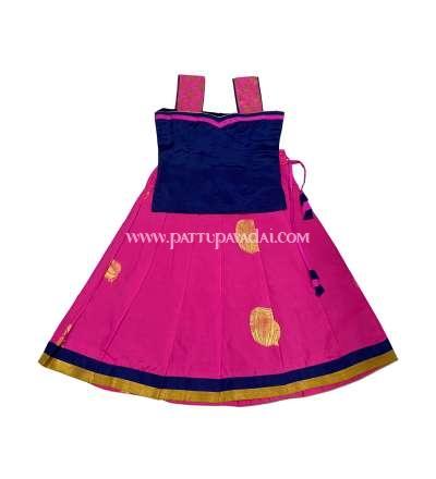 Soft Silk Pavadai Light Pink and Navy Blue