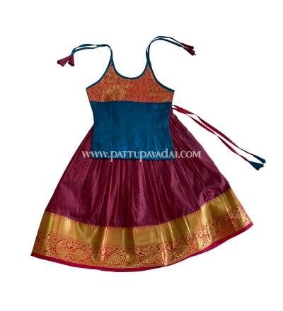Soft Silk Pavadai Maroon and Blue