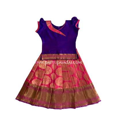 Buy Online Soft Silk Pavadai Pink and Violet