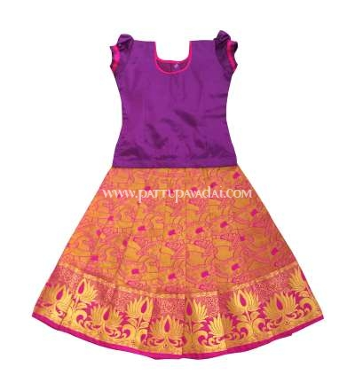 Buy Soft Silk Pavadai Violet and Pink