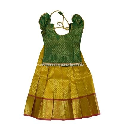 Soft Silk Pavadai Yellow and Green