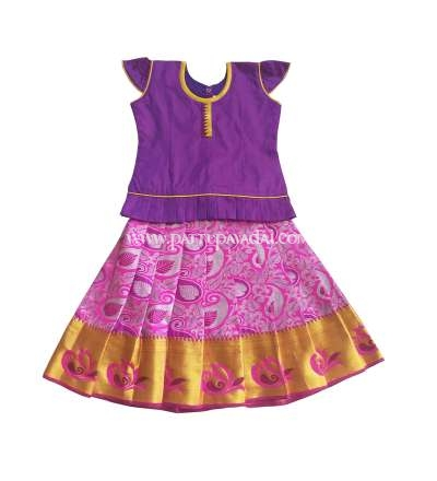 South Indian Pattu Pavadai Pink and Violet