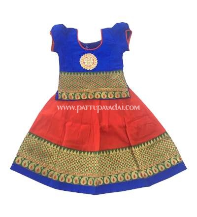 Traditional Mango Meena Pavadai Blue and Red
