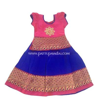 Traditional Mango Meena Pavadai Pink and Blue