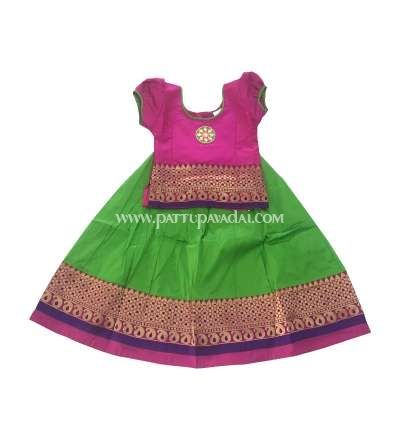 Traditional Mango Meena Pavadai Pink and Parrot Green