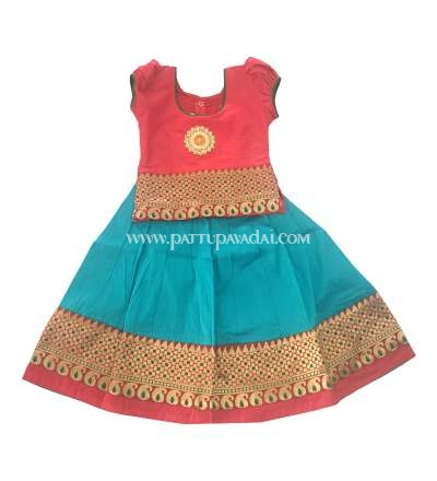 Buy Traditional Mango Meena Pavadai Red and Turquoise Blue Online