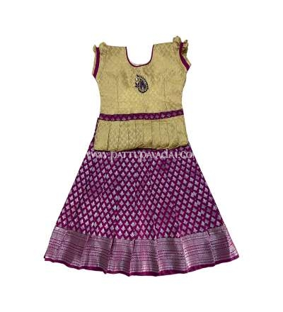 South Indian Pattu Pavadai Magenta and Golden