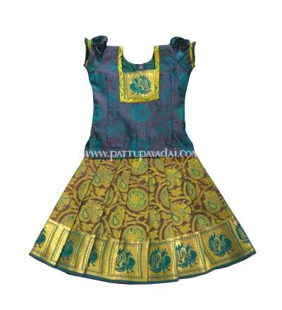 Traditional Pattu Pavadai Peacock Blue and Golden