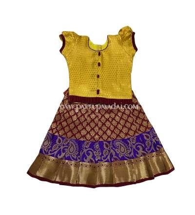 Traditional Pattu Pavadai Yellow and Maroon