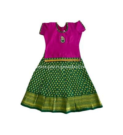 Traditional Pure Pattu Pavadai Pink and Green