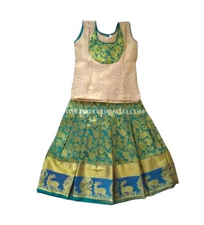 Kids Traditional Pure Silk Pavadai Blue and Cream
