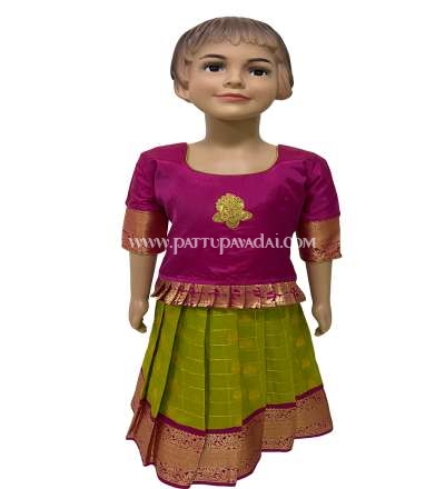 Pure Silk Pavadai Green and Pink, Online store for pattu pavadais