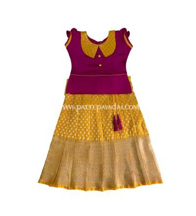 Pure Silk Pavadai Yellow and Pink, Online store for pattu pavadais