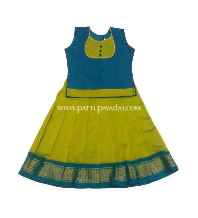 Traditional Silk Cotton Pavadai and Blouse Green