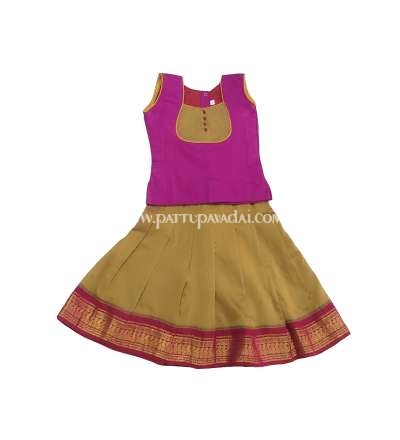 Traditional Silk Cotton Pavadai and Blouse Magenta