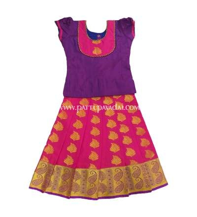 Traditional Silk Pavadai Violet and Pink