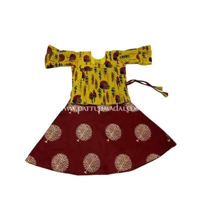 Beautiful cotton pavadai set, Traditional Cotton Pavadai  Red and Yellow