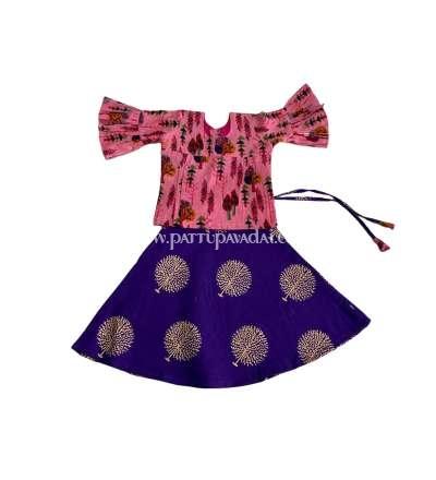 Beautiful cotton pavadai set, Traditional Cotton Pavadai Violet and Pink