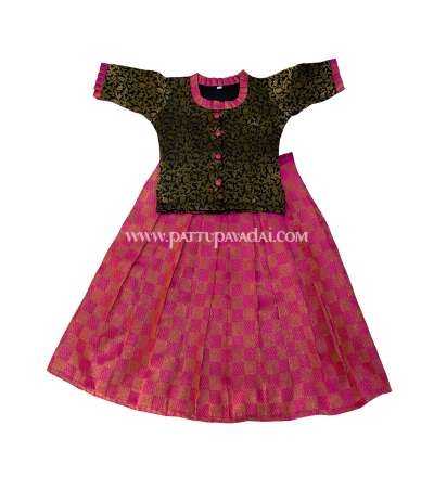 Kids Online Store, Trendy Pink and Black Fancy Langa