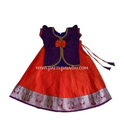 Violet and Orange Silk Pavadai Ethnic Wear